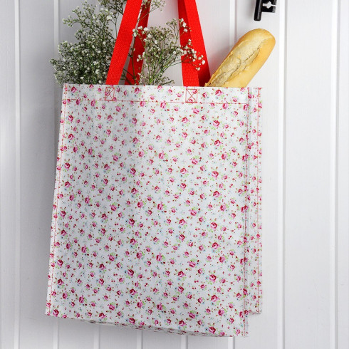 Recyklovaná nákupná taška s ružami - 40 cm