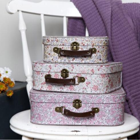 Kartónový kufrík s kvetinami - stredná