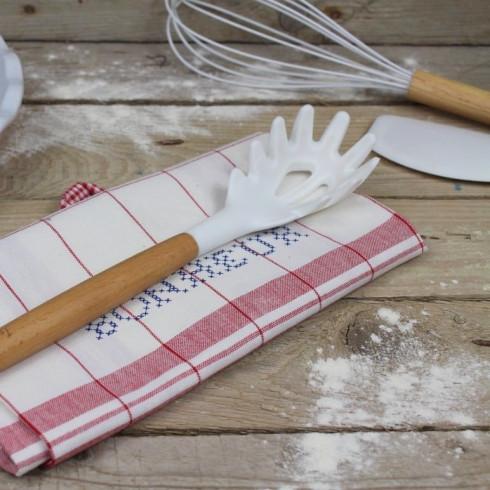 Silikónová lyžica na špagety - 31 cm biela