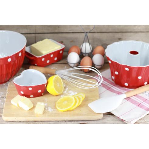 Keramická maselnička / zapekacia miska s pokrievkou - červená