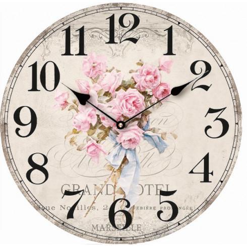 Drevené hodiny s kyticou ružových ruží 29 cm