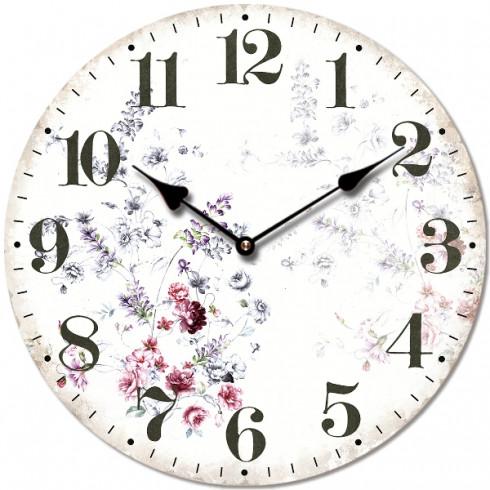 Drevené retro hodiny s dizajnom slamených kvetov 29 cm
