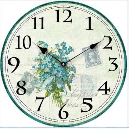 Drevené retro hodiny s kyticou kvetov 29 cm