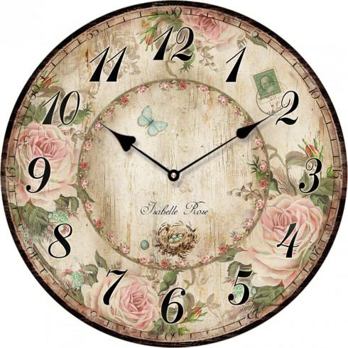 Drevené nástenné hodiny ISABELLE ROSE 15 cm