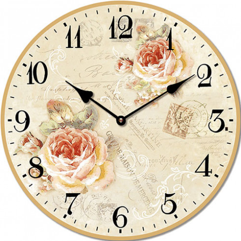 Drevené nástenné hodiny s motívom ruží a pečiatok 15 cm