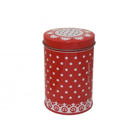 Plechová červená cukornička s bodkami