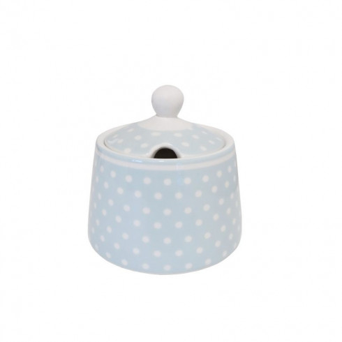 Porcelánová cukornička s bodkami - modrá