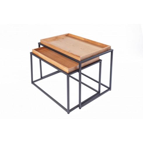 Drevený konferenčný stolík s táckou - masív dub, set 2 ks