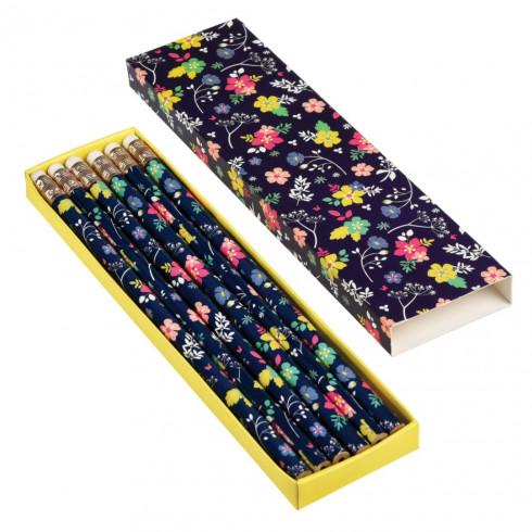 Ceruzky s gumou - kvetinový motív, set 6 ks
