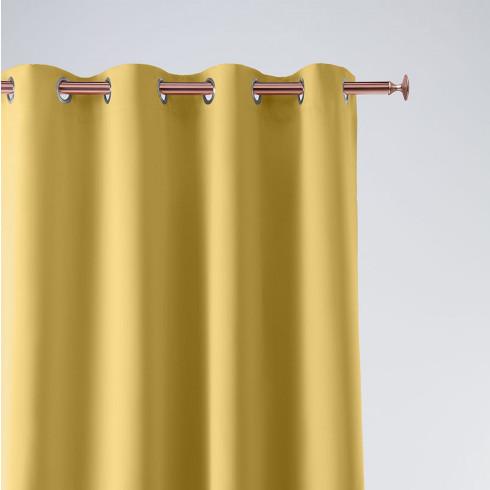 Záves Aura Mustard - 140x250 cm - uchytenie dekoračné kolieska