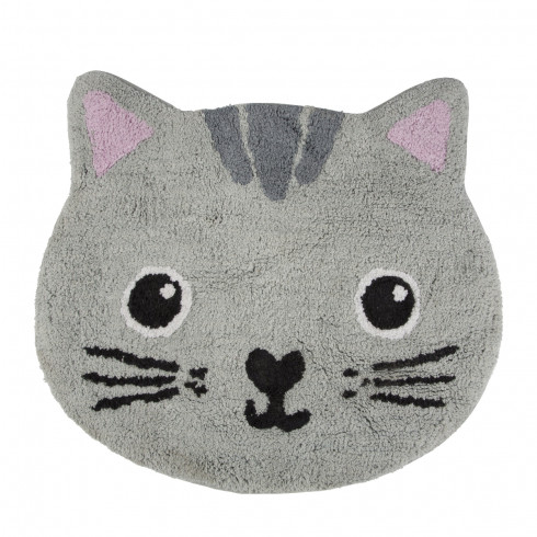 Bavlnený koberček Mačička - sivý