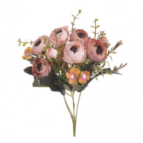 Umelá kytica kamélia - zväzok, svetlo ružové - 28 cm