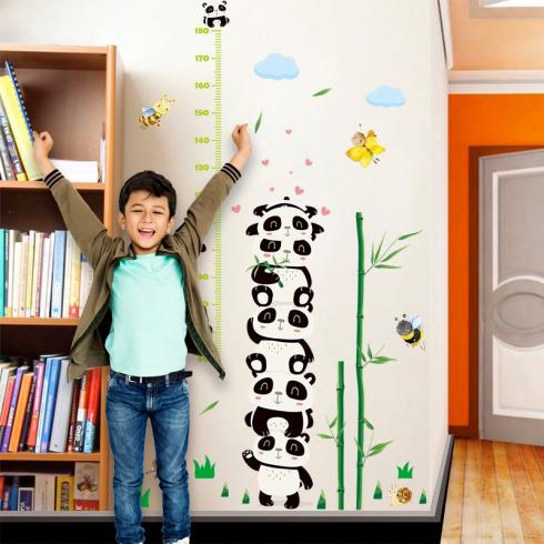 Samolepka na stenu - meter pre deti Panda
