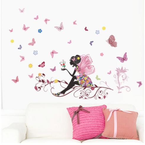Samolepky na stenu - víla s motýlikmi